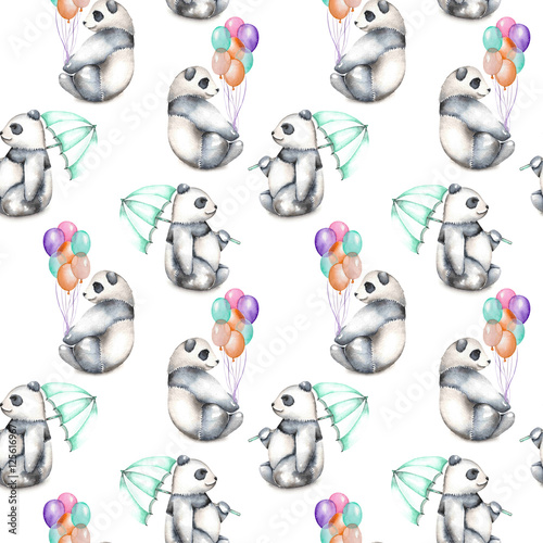 Seamless pattern with watercolor pandas with air baloons and umbrella, hand drawn isolated on a white background - 125616967