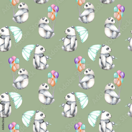 Seamless pattern with watercolor pandas with air balloons and umbrella, hand drawn isolated on a green background - 125618339