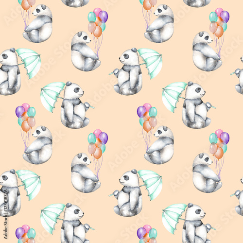 Seamless pattern with watercolor pandas with air balloons and umbrella, hand drawn isolated on a pink background - 125618376