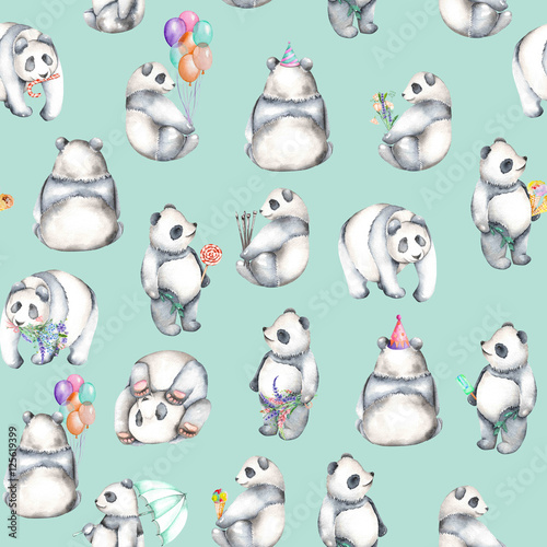 Seamless pattern with watercolor pandas, hand drawn isolated on a blue background - 125619399