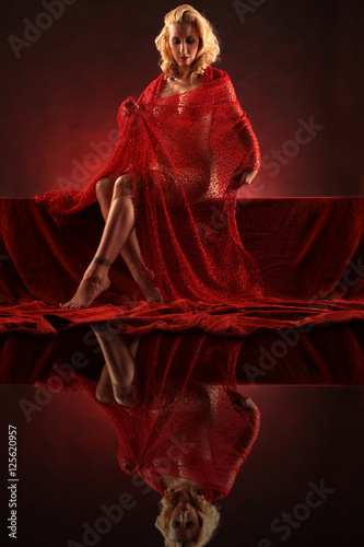 lady in red mirror Poster