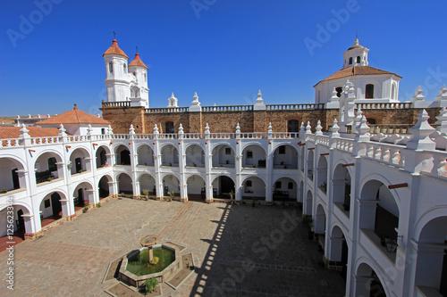The nice white church of San Felipe Neri, Sucre, Bolivia