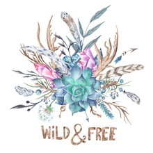 Wild and Free Boho Aquarelle Illustration