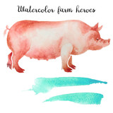 Naturalistic hand-draw watercolor farm animal