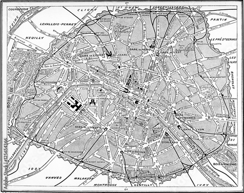 Map of Paris, France. - 125654366