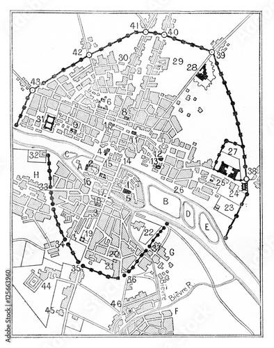 Map of Paris in The era of Charles V, vintage engraving. - 125663960