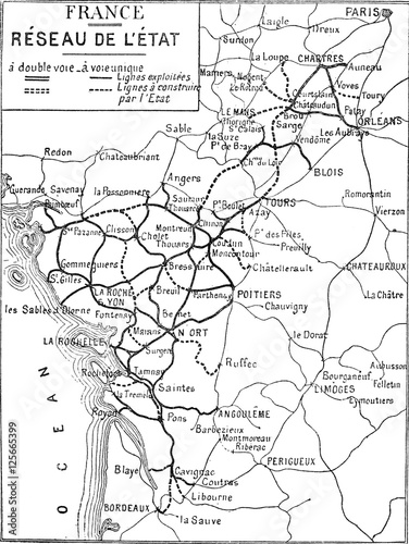 Map of France, vintage engraving. - 125665399