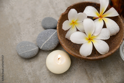 Poster Spa background, beauty, collage, essentials, treatment, wellness spa, stone, view, top, frangipani, closeup,