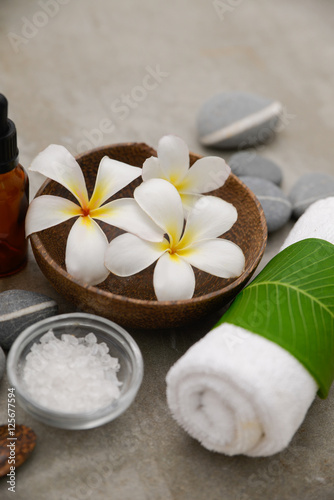Poster Spa Composition of spa treatment on gray background