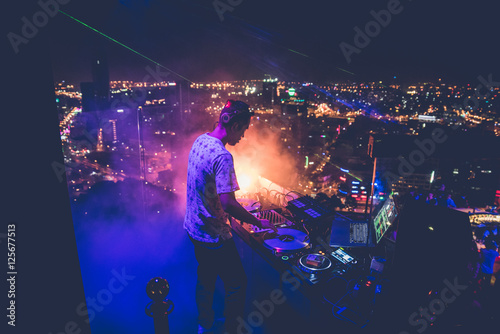 Poster DJ - Party on top of building with music entertainment