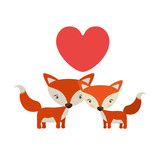 Little couple of animals concept about cute fox in love design with red hearts. vector illustration