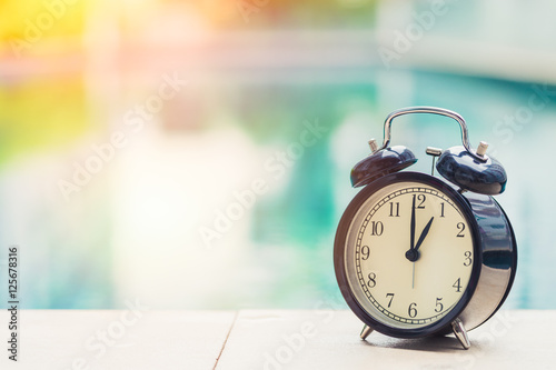 Poster 1 o'clock retro clock at the swimming pool outdoor holiday time concept