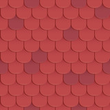 Shingles roof seamless pattern. Red color. Classic style. Vector illustration