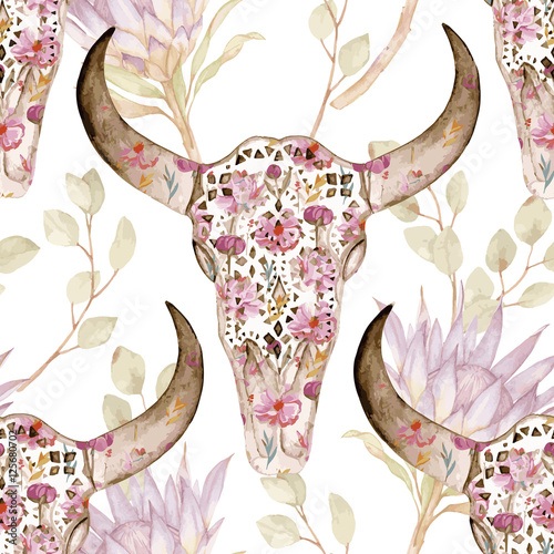 Watercolor seamless pattern with skull in flowers, protea. Floral decoration, vector illustration - 125680702