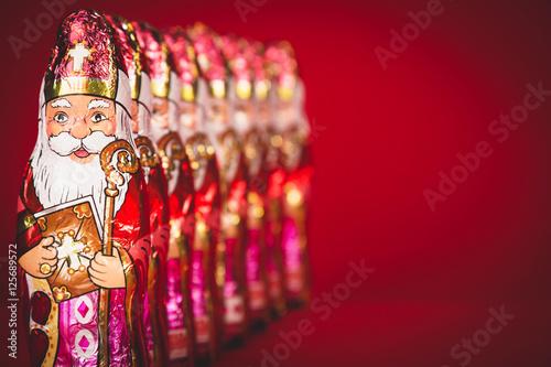 Sinterklaas . Dutch chocolate figures in a row