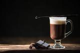 Hot coffee with dark chocolate