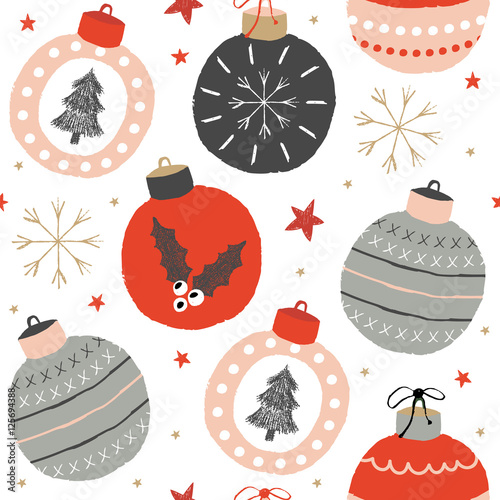 Cotton fabric Christmas pattern with balls, snow and stars.