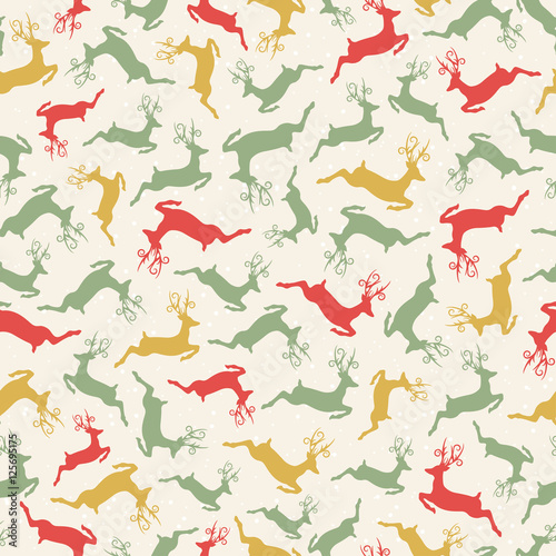 Cotton fabric Seamless pattern with deers