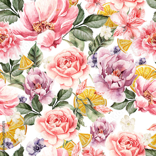 Fototapeta Seamless pattern with watercolor flowers. Peonies, anemone, citrus and roses. Illustration