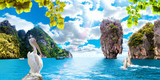 Paisaje pintoresco.Islas de Tailandia.Phuket.Oceano y montañas.