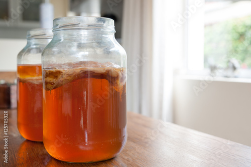 Kombucha Tea in a glass jar