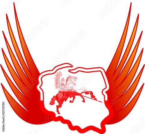 kontury polski i skrzydła husarza © art_mike