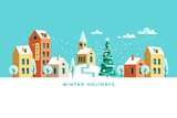 Snowy street. Urban winter landscape. Christmas card Happy Holidays banner. Vector illustration flat design.