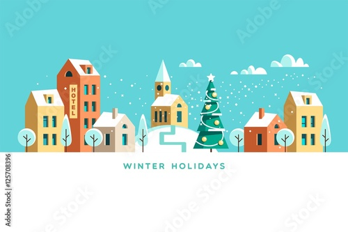 Foto op Canvas Turkoois Snowy street. Urban winter landscape. Christmas card Happy Holidays banner. Vector illustration flat design.