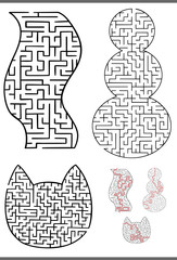maze diagrams set
