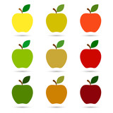 Fototapety Apple icon set vector isolated color illustration.