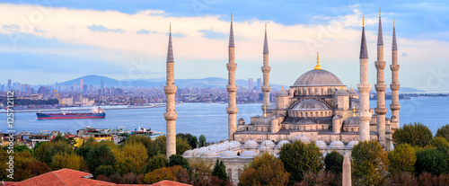 Blue Mosque and Bosporus panorama, Istanbul, Turkey - 125712112