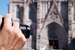 taking a picture of the Barcelona Cathedral, Spain