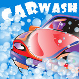 Car wash. Poster template for your design. Vector