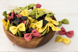 Colored Farfalle Pasta in a Bowl