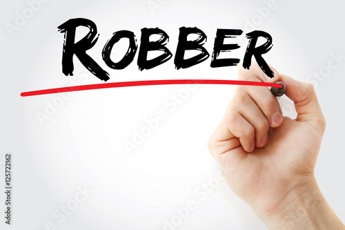 Poster Hand writing Robber with marker, concept background