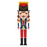 Colorful Silhouette Of A Christmas Nutcracker Soldier Figurine    Wall Sticker