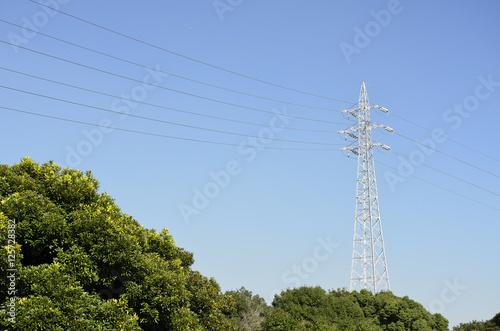 秋空と送電線