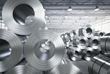 roll of steel sheet in factory - 125734172