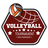 volleyball sport ball emblem vector illustration design