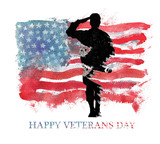 Watercolor illustration.Vegterans day. America, USA flag. - 125749361