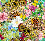 Flowers, butterflies and golden arabic ornament. Floral ornamental background for fashion design. Watercolor seamless pattern