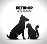 pet shop poster dog and cat silhouette vector illustration eps 10 - 125768520