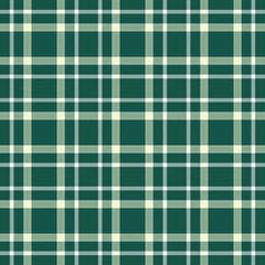 Seamless tartan plaid pattern. Light green & white twill stripes on dark green background.