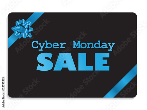 """""""CYBER MONDAY SALE"""" gift card with blue ribbon"""