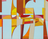 An abstract painting, warm colours, suggestive of futuristic urban architecture. - 125805317