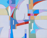 An abstract painting, cool colours, suggestive of futuristic urban architecture. - 125805383