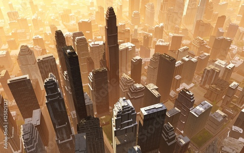 aerial view of the city, a city with a bird's-eye view.