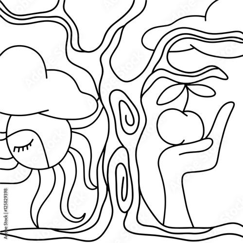 Fotobehang Klassieke abstractie apple and hand