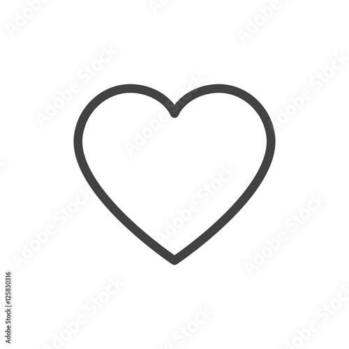 Heart outline icon vector isolated - 125830316