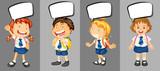 Children in school uniform with speech bubbles